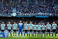 AVELLANEDA, BUENOS AIRES, ARGENTINA - 2017 NOVEMBER 01. Racing team Racing Club (12) GK Juan Musso, Racing Club (4) Iván Pillud, Racing Club (14) Sergio Vittor, Racing Club (6) Miguel Barbieri, Racing Club (23) Alexis Soto, Racing Club (5) Egidio Arévalo Ríos (on loan from Veracruz), Racing Club (15) Augusto Jorge Solari, Racing Club (28) Federico Zaracho, Racing Club (11) Andrés Ibargüen, Racing Club (9) Lisandro López, Racing Club (10) Lautaro Martínez during the Copa Sudamericana quarter-finals 2nd leg match between Racing Club de Avellaneda and Club Libertad at Estadio Juan Domingo Perón,  <br /> ( Photo by Sebastian Frej )