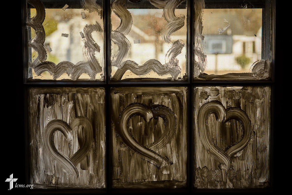 Hearts in the window at Nanny's Korner Care Center on Thursday, Jan. 19, 2017, in Lumberton, N.C. The center was damaged in October from flooding related to Hurricane Matthew. LCMS Communications/Erik M. Lunsford