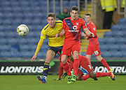 York City midfielder Michael Coulson and Oxford United Midfielder Josh Ruffels during the Sky Bet League 2 match between Oxford United and York City at the Kassam Stadium, Oxford, England on 1 March 2016. Photo by Adam Rivers.