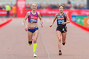 Lilia Fisikovici (Moldova) and Mayo Ichiyama (Japan) approaching the finish line in the Women's Elite race, during the Virgin Money 2019 London Marathon, London, United Kingdom on 28 April 2019.