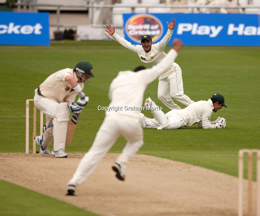 Marcus North is caught by wicket keeper Kamran Akmal off the bowling of Umar Amin during the second MCC Spirit of Cricket Test Match between Pakistan and Australia at Headingley, Leeds.  Photo: Graham Morris (Tel: +44(0)20 8969 4192 Email: sales@cricketpix.com) 21/07/10