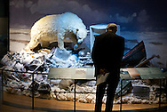 New York. American Museum of Natural Histoty. Exhibiiton on Climate Change: The Threat to Life and A New Energy Future. An exhibition display shows a polar bear crossing a mound of human refuse. What has happened to this magnificent animal? Climate change has altered the rhythms of its life. For much of the year, sea ice is the hunting ground and home of the polar bear (Ursus maritimus). When the ice breaks up, the bears retreat to the edge of the shrinking icepack or to ice-covered land. There, they enter into a nonhunting state sometimes called walking hibernation.