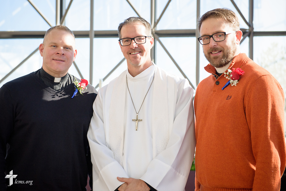 Portrait of the (L-R) Rev. Peter Burfeind, the Rev. Steve Schave, and the Rev. Adam DeGroot, following a Service of Sending for new national missionaries at the International Center chapel of The Lutheran Church–Missouri Synod on Tuesday, Jan. 12, 2016, in Kirkwood, Mo. LCMS Communications/Frank Kohn
