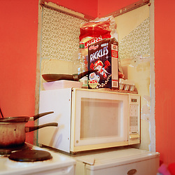 The kitchen in one of the flats on the Aylesbury Estate in London .