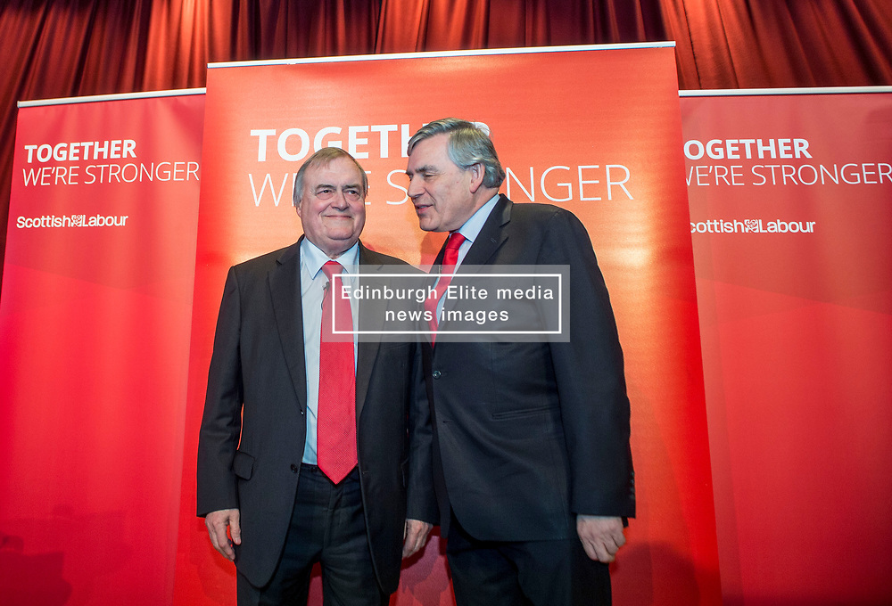 Former Prime Minister Gordon Brown and former Deputy Prime Minister Lord Prescott at a campaign event in Kirkcaldy.<br /> <br /> &copy; Dave Johnston/ EEm