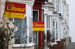 © Licensed to London News Pictures. <br /> 10/04/2015. <br /> <br /> Saltburn, United Kingdom<br /> <br /> Signs showing support for the Labour party are seen outside homes on a street of houses in Saltburn by the Sea in Cleveland ahead of the General Election on May 7.<br /> <br /> Photo credit : Ian Forsyth/LNP