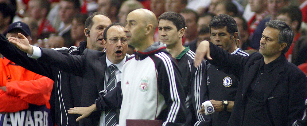 Photo: Paul Thomas.<br /> Liverpool v Chelsea. UEFA Champions League. Semi Final, 2nd Leg. 01/05/2007.<br /> <br /> Managers Jose Mourinho (R) of Chelsea and Liverpool's Rafael Benitez, disagree on something.