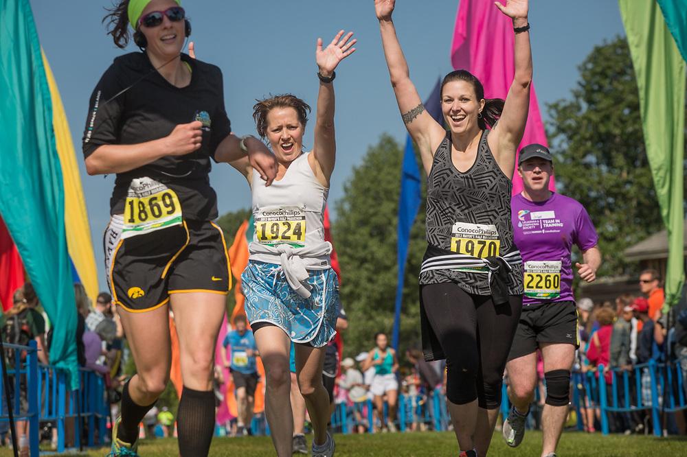 Finish line of the Mayor's Midnight Sun Marathon, Delaney Park Strip, Anchorage, Alaska