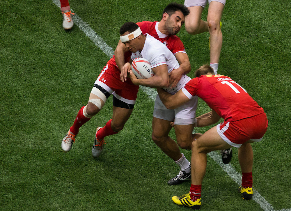 Philip Mack of Canada plays England at the HSBC Sevens World Series XVII Round 6 at B.C. Place Stadium in Vancouver British Columbia on March 13, 2016. Canada beat England 17-7. (KevinLight/CBCSports)