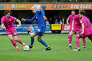 AFC Wimbledon striker Joe Pigott (39) dribbling into box during the EFL Sky Bet League 1 match between AFC Wimbledon and Rochdale at the Cherry Red Records Stadium, Kingston, England on 5 October 2019.