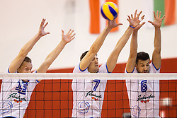 Tine Urnaut, Matevz Kamnik and Mitja Gasparini of Slovenia during friendly volleyball match between National teams of Slovenia and Bulgaria on August 29, 2013 in Hoce, Slovenia. (Photo by Vid Ponikvar / Sportida.com)