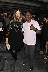 CATALINA GUIRADO and actor VAS BLACKWOOD at the launch party for the new nightclub Tonteria, 7-12 Sloane Square, London on 25th October 2012.