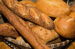 A basket full of assorted bread
