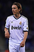 BARCELONA, SPAIN - MAY 11: Luka Modric of Real Madrid CF looks on during the Liga BBVA between RCD Espanyol and Real Madrid CF at the Cornella-El Prat Stadium on May 11, 2013 in Barcelona, Spain. (Photo by Aitor Alcalde Colomer).