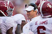 FAYETTEVILLE, AR - OCTOBER 11:  Offensive Coordinator Lane Kiffin of the Alabama Crimson Tide on the sidelines during a game against the Arkansas Razorbacks at Razorback Stadium on October 11, 2014 in Fayetteville, Arkansas.  The Crimson Tide defeated the Razorbacks 14-13.  (Photo by Wesley Hitt/Getty Images) *** Local Caption *** Lane Kiffin