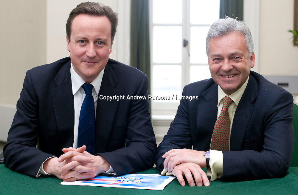 Leader of the Conservative Party David Cameron with Alan Duncan, Member of Parliament for Rutland and Melton  in his office in Norman Shaw South, January 18, 2010. Photo By Andrew Parsons / i-Images.
