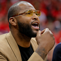 Apr 21, 2018; New Orleans, LA, USA; New Orleans Pelicans center DeMarcus Cousins watches from the bench during the second half in game four of the first round of the 2018 NBA Playoffs against the Portland Trail Blazers at the Smoothie King Center. Mandatory Credit: Derick E. Hingle-USA TODAY Sports