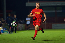 STEVENAGE, ENGLAND - Monday, September 19, 2016: Liverpool's Brooks Lennon in action against Tottenham Hotspur during the FA Premier League 2 Under-23 match at Broadhall. (Pic by David Rawcliffe/Propaganda)