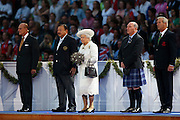 GLASGOW, SCOTLAND - JULY 23:  (L-R) Prince Philip, Duke of Edinburgh, HRH Prince Imran the CGF President, Queen Elizabeth II, Patron of the CGF, Michael Cavanagh, Chairman Commonwealth Games Scotland and The Chairman of Glasgow 2014, Lord Smith of Kelvin during the Opening Ceremony for the Glasgow 2014 Commonwealth Games at Celtic Park on July 23, 2014 in Glasgow, Scotland.  (Photo by Quinn Rooney/Getty Images)