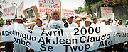 Manifestation contre l'assassinat de Jean Dominique, Port-au-Prince, avril 2000