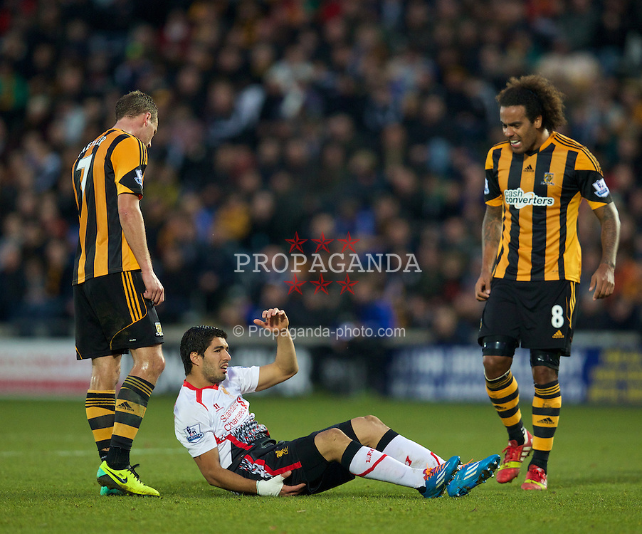 HULL, ENGLAND - Sunday, December 1, 2013: Liverpool's Luis Suarez and Hull City's Tom Huddlestone during the Premiership match at the KC Stadium. (Pic by David Rawcliffe/Propaganda)