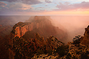 I photographed this scene of the Grand Canyon at sunset on the last day of the first 100 years of the National Park Service. About 30 minutes before sunset a thunderstorm built-up west of here near the Grand Canyon Lodge, the only storm over the canyon that evening, and slowly moved east towards Cape Royal. The timing couldn't have been more perfect as the storm opened up and the rain fell across Wotans Throne as the sun was setting. I can't think of a better way to celebrate the end of the first 100 years of our National Parks.