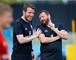 LOS ANGELES, USA - Saturday, May 26, 2018: Wales' Ronan Kavanagh and equipment manager David Griffiths during a training session at the UCLA Drake Track and Field Stadium ahead of the International friendly match against Mexico. (Pic by David Rawcliffe/Propaganda)