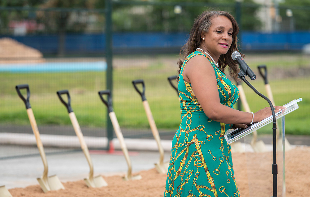 Houston ISD Rhonda Skillern-Jones comments during a groundbreaking ceremony at Barbara Jordan Career Center, May 9, 2017.