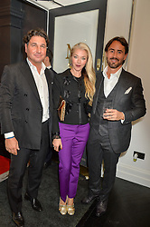 Left to right, GIORGIO VERONI, TAMARA BECKWITH and JAY RUTLAND at a party to celebrate the launch of the Maddox Gallery at 9 Maddox Street, London on 3rd December 2015.