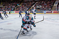 KELOWNA, CANADA - DECEMBER 30: Carsen Twarynski #18 of the Kelowna Rockets skates for the puck against the Victoria Royals on December 30, 2017 at Prospera Place in Kelowna, British Columbia, Canada.  (Photo by Marissa Baecker/Shoot the Breeze)  *** Local Caption ***