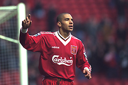 LIVERPOOL, ENGLAND - Saturday, January 6, 1996: Liverpool's Stan Collymore celebrates scoring the second of his hat-trick of goals against Rochdale during the FA Cup 3rd Round match at Anfield. (Photo by David Rawcliffe/Propaganda)