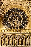 architechture detail notre dame de paris in the city of Paris in france