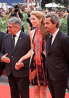 Aleksandr Sokurov, Johanna Korthals Altes, Louis-Do de Lencquesaing at the gala screening for the film Francofonia at the 72nd Venice Film Festival, Friday September 4th 2015, Venice Lido, Italy.