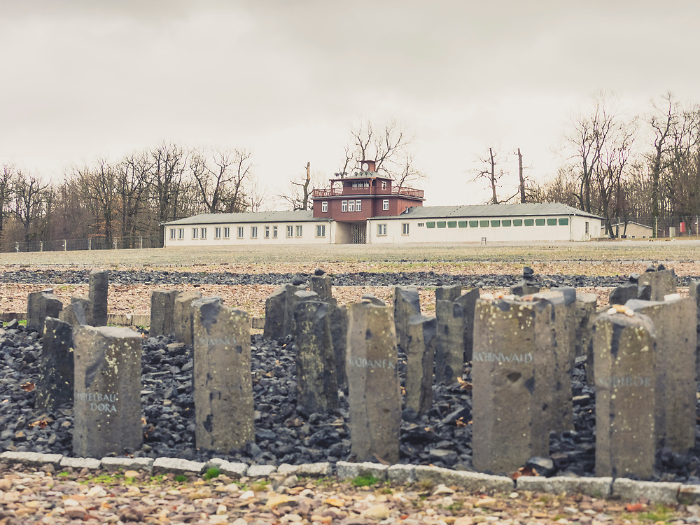 """Black basalt steles and gate building with watchtower at concentration camp, KZ Buchenwald"""", Ettersberg, Weimar, Thueringen, Germany"""