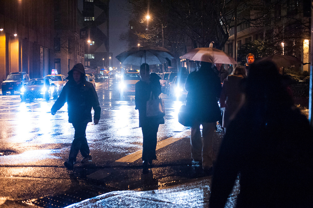 Street Scene on Bleeker Street during the 2013 NYC Winter Jazz Fest held in New York City, January 11, 2013.