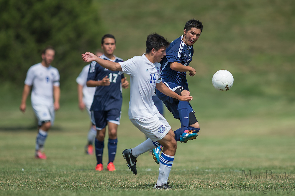 Sussex County Community College Men's Soccer freshman Carl Pallini (14) - Middlesex County College Men's Soccer at Sussex County Community College in Newton, NJ on Saturday September 6, 2014. (photo / Mat Boyle)