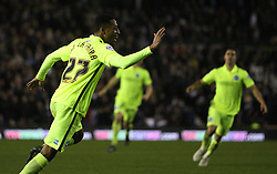Rajiv van La Parra (C) of Brighton & Hove Albion celebrates scoring his sides second goal  - Mandatory byline: Jack Phillips / JMP - 07966386802 - 12/12/2015 - FOOTBALL - The iPro Stadium - Derby, Derbyshire - Derby County v Brighton & Hove Albion - Sky Bet Championship