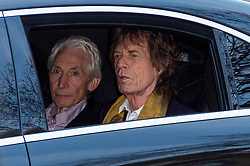 © Licensed to London News Pictures. 04/04/2016. CHARLIE WATTS and MICK JAGGER attend The Rolling Stones Exhibition Private at The Saatchi Gallery. London, UK. Photo credit: Ray Tang/LNP