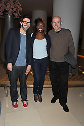 Left to right, MARK WATSON, ANDI OSHO and LEE HURST at an after show party following the opening night of All New People held at the St.Martin's Lane Hotel, London on 28th February 2012.