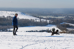 © Licensed to London News Pictures. 30/01/2019. Butlers Cross, UK.  A man walks his dog through a snow covered landscape, seen from Coombe Hill in Butlers Cross, Buckinghamshire, as snow hits the south east of England. Photo credit: Ben Cawthra/LNP