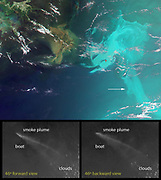 These unique images of the Deep-water Horizon oil slick in the Gulf of Mexico were obtained by the Multi-angle Imaging Spectroradiometer (MISR) instrument aboard NASA's Terra spacecraft on May 17, 2010, at around 16:40 UTC (11:40 a.m. CDT). The top panel is a false-colour image created by combining data from the red band of the 26-degree forward-viewing camera, where the oil appears dark, with the blue and green bands of the nadir (vertical-viewing) camera, where the oil appears bright