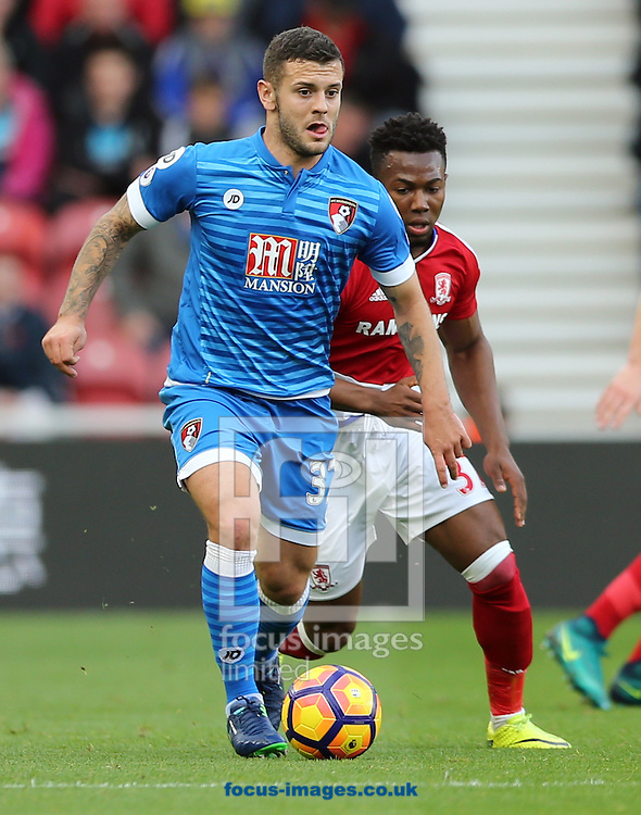 Adama Traore (r) of Middlesbrough and Jack Wilshere of Bournemouth during the Premier League match at the Riverside Stadium, Middlesbrough<br /> Picture by Simon Moore/Focus Images Ltd 07807 671782<br /> 29/10/2016