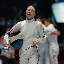 JAKARTA, Aug. 24, 2018  Choi Injeong of South Korea reacts after the Women's Epee Team final in the 18th Asian Games in Jakarta, Indonesia, Aug. 24, 2018. (Credit Image: © Wangyuguo/Xinhua via ZUMA Wire)