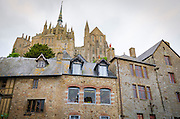 Shops and houses below the monastery, Mont Saint-Michel, Normandy, France