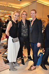 Left to right, Elaine Sullivan, SARAH WOODHEAD and DEE STIRLING at a breakfast at Roger Vivier, 188 Sloane Street to view the SS2014 Roger Vivier collections held on 20th March 2014.