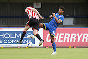 Lyle Taylor in action during the Pre-Season Friendly match between AFC Wimbledon and Cheltenham Town at the Cherry Red Records Stadium, Kingston, England on 1 August 2015. Photo by Stuart Butcher.
