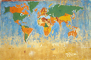 World map painted on a school wall.
