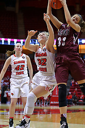 29 January 2017: Kylie Giebelhausen gets a loos ball ahead of Taylor Stewart during an College Missouri Valley Conference Women's Basketball game between Illinois State University Redbirds the Salukis of Southern Illinois at Redbird Arena in Normal Illinois.