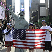 scots in Times Sq running  4/3/14