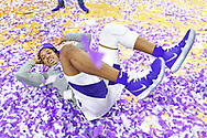 MANHATTAN, KS - MARCH 09:  Barry Brown Jr. #5 of the Kansas State Wildcats celebrates after wining the Big 12 Regular Season Championship on March 9, 2019 at Bramlage Coliseum in Manhattan, Kansas.  (Photo by Peter G. Aiken/Getty Images) *** Local Caption *** Barry Brown Jr.